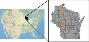 Elk reintroduction areas in Wisconsin, USA.