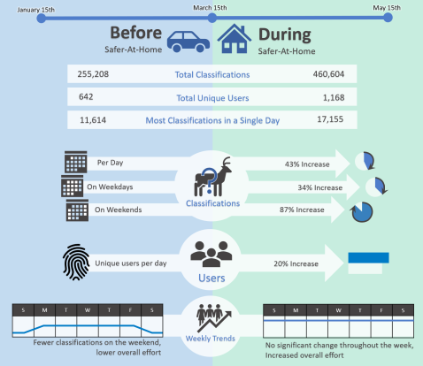 An infographic showing changes in volunteer participation