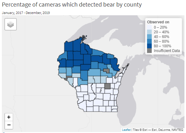 Map of bear detections by county