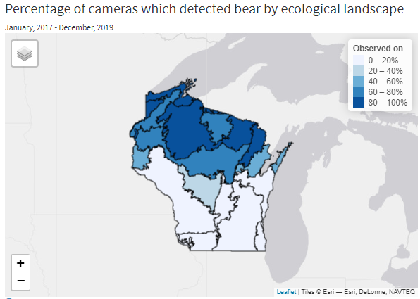 Map of bear detections by ecological landscape