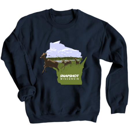 A blue sweatshirt with the Snapshot Wisconsin design