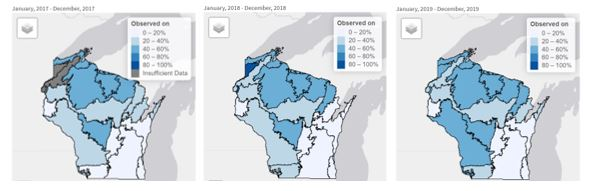 Three maps of Wisconsin showing bobcat detections on Snapshot Wisconsin cameras.