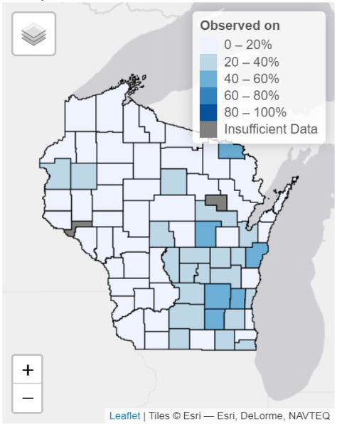 A map from the Snapshot Wisconsin Data Dashboard showing the percentage of trail cameras that sandhill cranes were observed on.